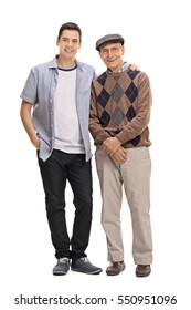 Full length portrait of a young guy and a mature man posing together isolated on white background