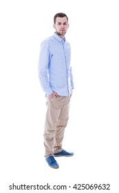full length portrait of young handsome man isolated on white background