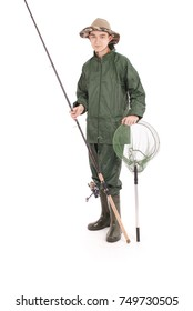 A full length portrait of a young happy fisherman holding a fishing pole isolated against white background