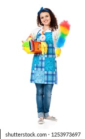 Full length portrait of young Housewife with Cleaning Supplies in box, isolated on white background
