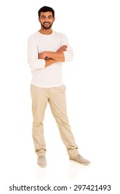 full length portrait of young indian man with arms crossed