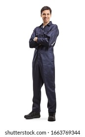 Full length portrait of a young male worker in an overall uniform posing and smiling isolated on white background