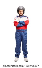 Full length portrait of a young male car racer with a gray helmet isolated on white background
