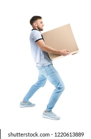 Full length portrait of young man carrying carton box on white background. Posture concept