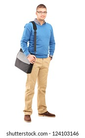 Full length portrait of a young man with a shoulder bag isolated on white background