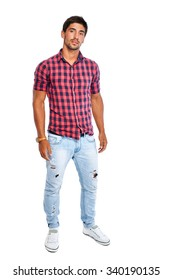 Full length portrait of young man in a red shirt. Isolated on white background