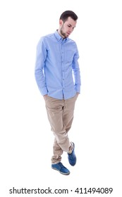 full length portrait of young man thinking about something isolated on white background
