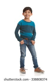 Full length portrait of a young mixed race boy.  Isolated on white.