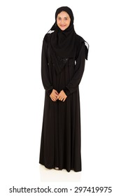 full length portrait of young muslim woman isolated on white