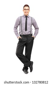 Full length portrait of a young stylish male posing isolated on white background