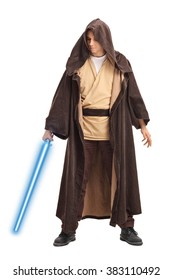 Full length portrait of a young warrior with brown hooded cape holding a laser sword isolated on white background