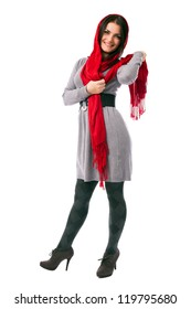 Full length portrait of a young woman posing with red scarf isolated on white background