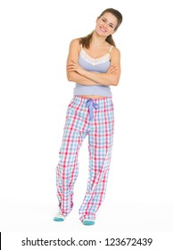 Full length portrait of young woman in pajamas