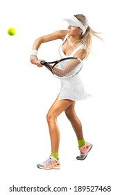 Full length portrait of young woman playing tennis on a dross field. Healthy lifestyle. Isolated white background