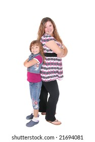 full length portraits of a young woman and her daughter showing attitude over white