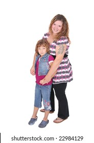 full length portraits of a young woman and her daughter happy together over white
