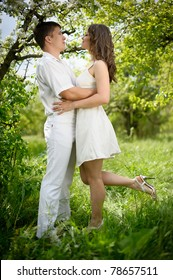 full length portrate of Young couple in love
