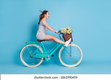 Full length profile photo of crazy girl drive bike raise legs wear dotted short dress footwear isolated blue color background