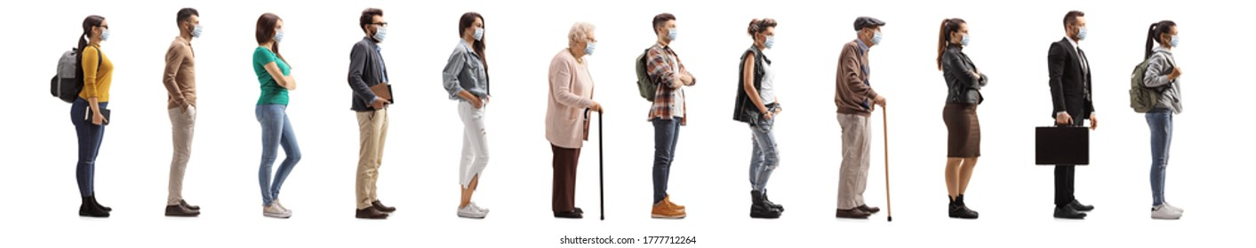 Full length profile shot of people waiting in line and wearing protective masks isolated on white background
