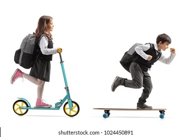 Full length profile shot of a schoolgirl riding a scooter and a schoolboy riding a longboard isolated on white background
