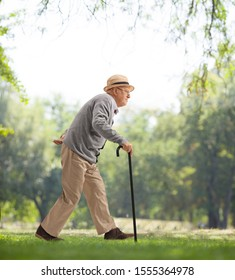 Full length profile shot of a senior man walking with a cane in a park