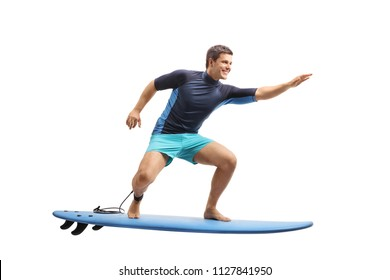 Full length profile shot of a surfer surfing on a surfboard isolated on white background