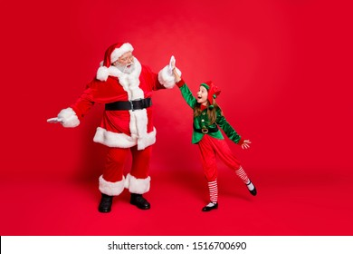Full length profile side photo of excited santa claus elf celebrate success on eve noel preparationl wearing green costume having hat headwear isolated over red background