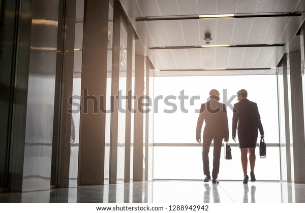 Full length rear view of mature colleagues talking while walking in office corridor