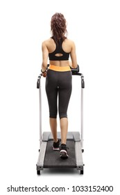 Full length rear view shot of a fitness woman walking on a treadmill isolated on white background
