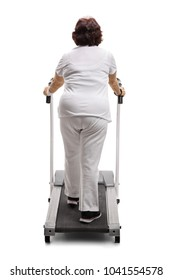 Full length rear view shot of an elderly woman walking on a treadmill isolated on white background