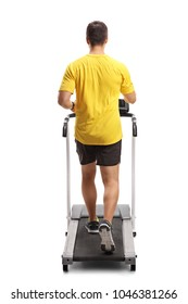 Full length rear view shot of a young man exercising on a treadmill isolated on white background