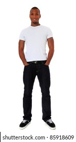Full length shot of an attractive black man. All on white background.