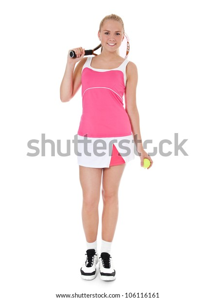 Full length shot of an attractive female tennis player. All on white background.