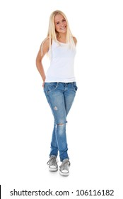 Full length shot of an attractive teenage girl. All on white background.