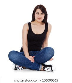 Full length shot of an attractive young woman. All on white background.