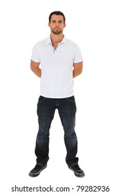 Full length shot of an attractive young man. All on white background.