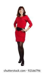 full length shot of beauty girl in red dress over white background