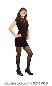 full length shot of beauty girl in black dress over white background