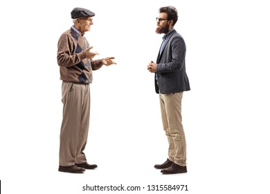 Full length shot of an elderly man talking to a younger bearded man isolated on white background