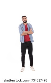 Full length shot of handsome beard man wearing jeans shirt and black pants, guy smiling and standing confidently, isolated on white background