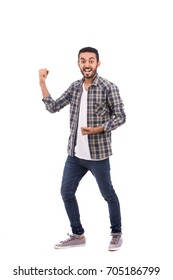 Full length shot of handsome happy beard young man smiling and feeling excited, guy wearing caro shirt and jeans, isolated on white background