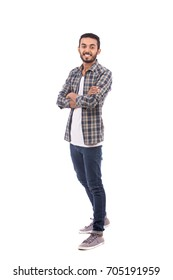 Full length shot of handsome happy beard young man smiling and standing confidently, guy wearing caro shirt and jeans, isolated on white background