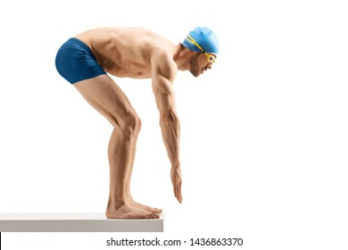 Full length shot of a male swimmer getting ready to start swimming isolated on white background