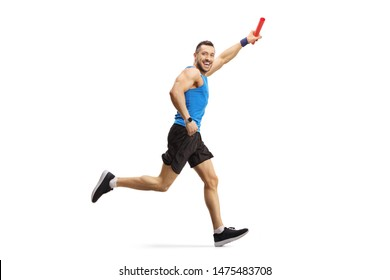 Full length shot of a man running a relay race with a baton in his hand isolated on white background