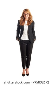 Full length shot of a smiling executive businesswoman standing against at isolated white background.
