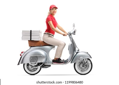 Full length shot of a smiling pizza delivery woman on a scooter with pizza boxes isolated on white background
