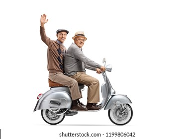 Full length shot of two elderly men on a vintage scooter, one waving isolated on white background