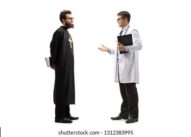 Full length shot of a young male doctor discusiing something with a priest isolated on white background