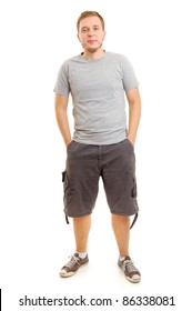 full length shot young man, isolated on white