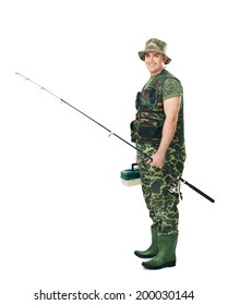 Full length side view portrait of a young happy smiling fisherman in camouflage holding a fishing equipment isolated on white background